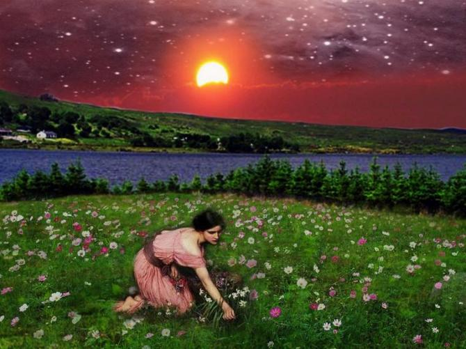 14 Painting Pink dress woman picking flower beside the river