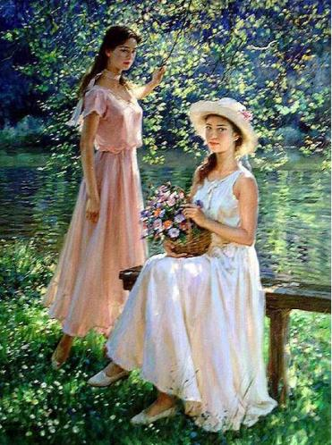 16 Painting 2 women pink white dress with flowers beside water
