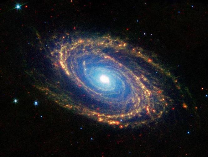 7a orange blue green spiral galaxy