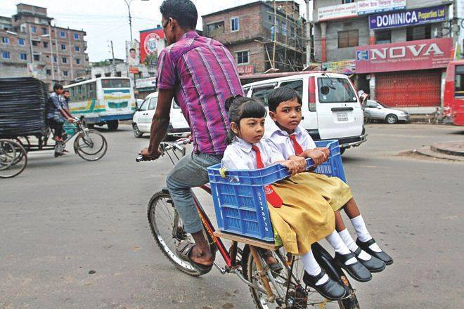 Smart way to carry children to school