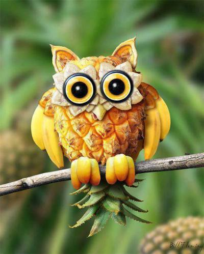 1 Love this yello banana pineapple owl