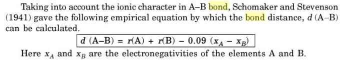 15 schomaker stevenson empirical equation of bond distance