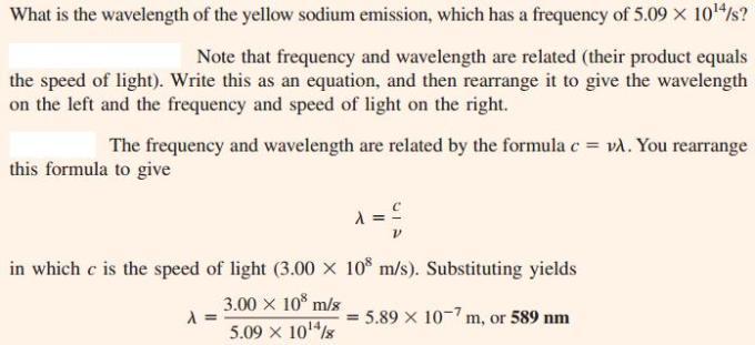 15 wavelength of yellow emission