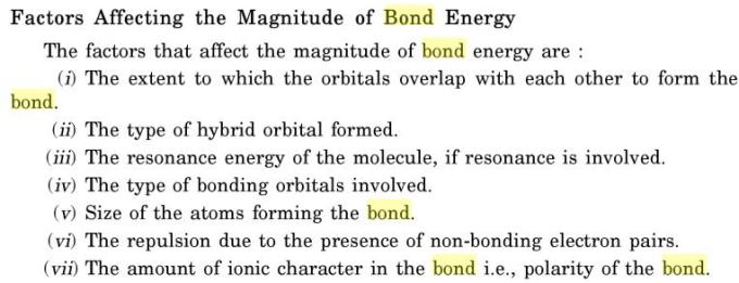 17 Factors affecting bond energy