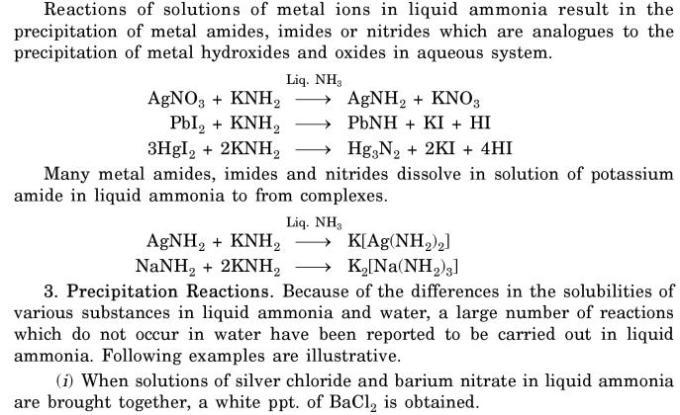 6 Reactions in Liquid Ammonia