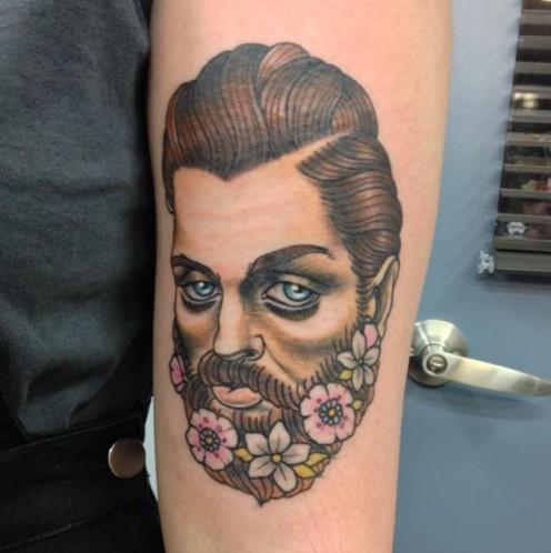 Tattoo Flower in Beard