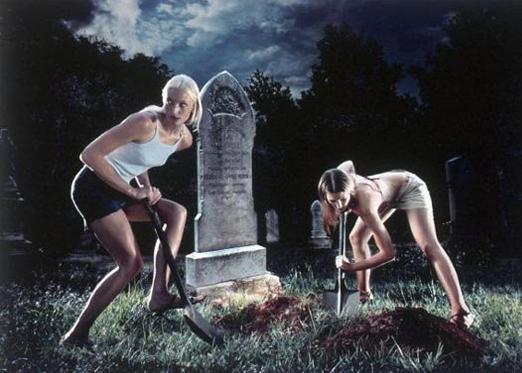 woman digging grave