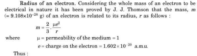 1 radius of electron