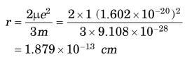 12 radius of electron
