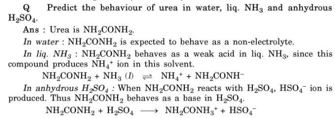 31 Predict the behaviour of urea in Water