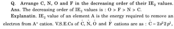 38 decreasing order of IE values