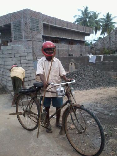 1 Riding a cycle with helmet