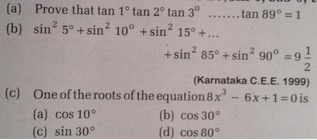 1 Trigonometry Questions and Solutions