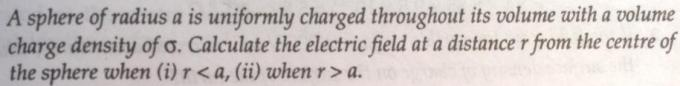23 Electrostatics sphere of radius a is uniformly charged