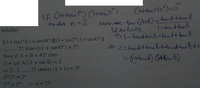 26a if A+B=45 then 2=( 1 + tan A ) ( 1 + tan B )