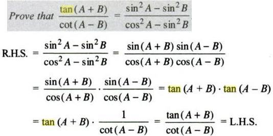 28a Tan ( A + B ) by Cot ( A - B )