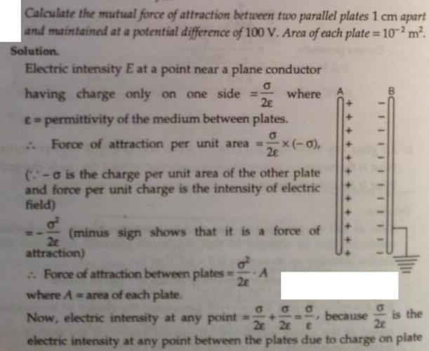 34 calculate the mutual force of attraction between 2 plates