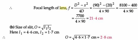 15 Focal length of convex lens by displacement method