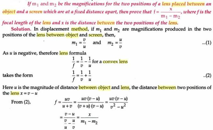 16 Focal length of convex lens by displacement method