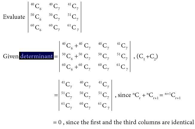 17 Determinant with n C r