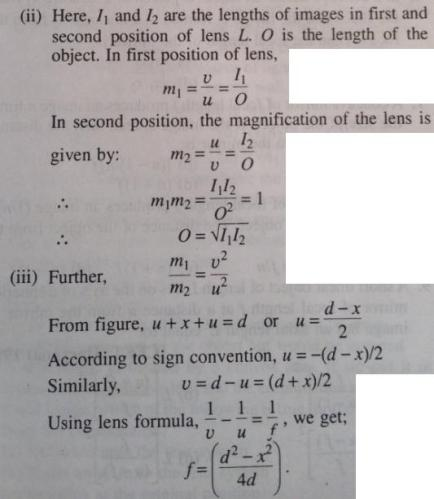 2 Focal length of convex lens by displacement method