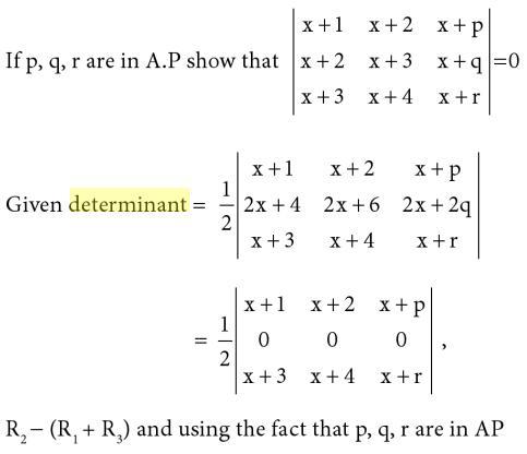 21 p q r are in AP in Determinant
