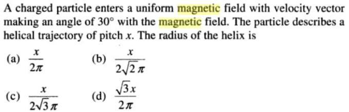 23 charged particle enters uniform magnetic