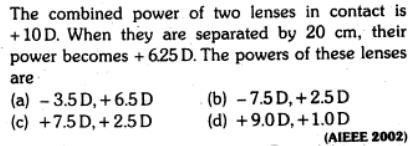 25 combined power two lenses separated SKMClasses IIt JEE Bangalore