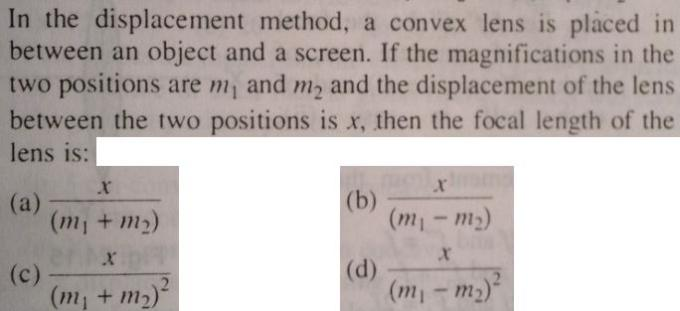 3 Focal length of convex lens by displacement method