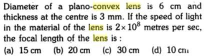 31 Diameter plano convex lens focal length SKMClasses IIT JEE Bangalore