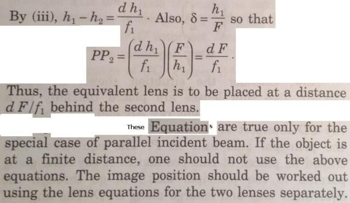 4 Equivalent lens when 2 lenses are separated by d