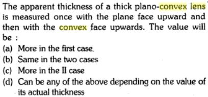 5 apparent thickness thick plano convex lens measured SKMClasses IIT JEE Bangalore