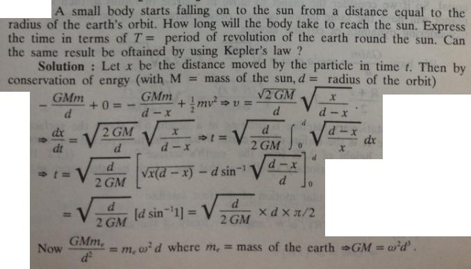53 a mass starts falling towards sun from distance equal to radius of earth