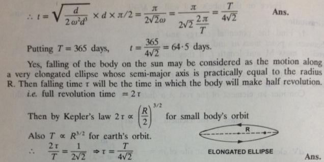 54 a mass starts falling towards sun from distance equal to radius of earth