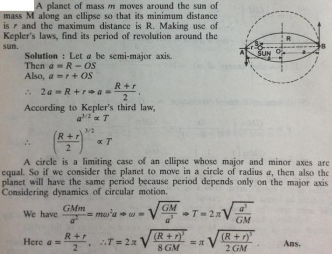 56 planet of mass m moves around the Sun in ellipse