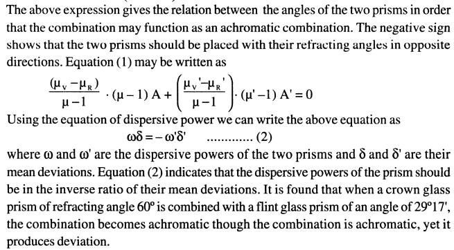 57 Achromaticcombination of prism deviation without Dispersion