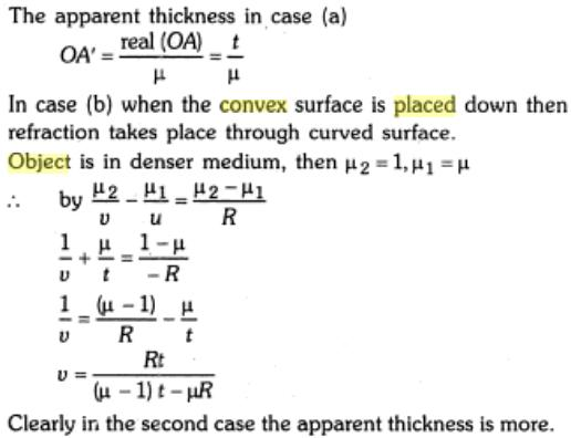 6 apparent thickness thick plano convex lens measured SKMClasses IIT JEE Bangalore