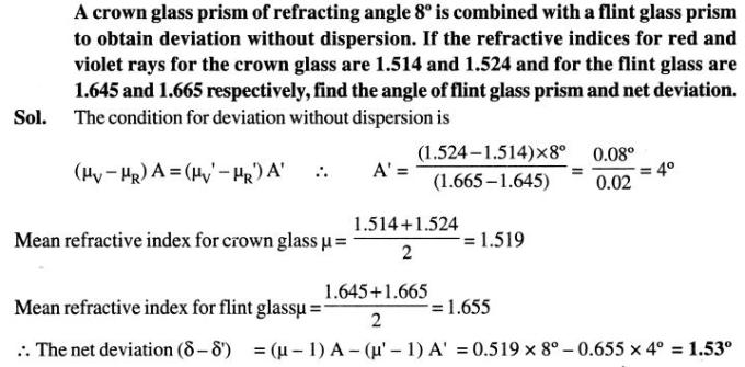 62 crown glass prism refracting angle without dispersion