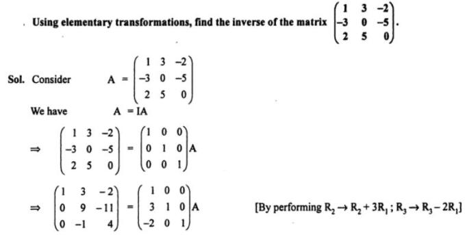 62a Using elementary transformations find inverse of matrix