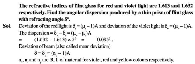 64 refractive index of flint glass angular dispersion