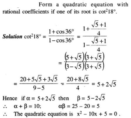 69 Q Trigonometric expression in Quadratic equation
