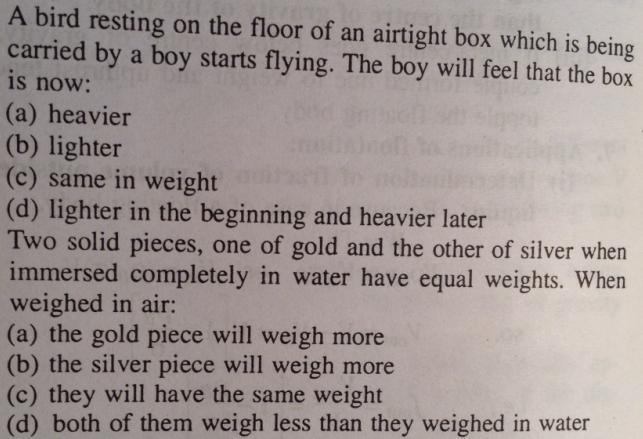 7 Bird flying in airtight box and gold silver weighing same inside water