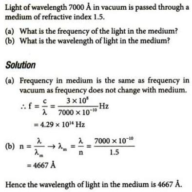 7 frequency and wavelength of light in material