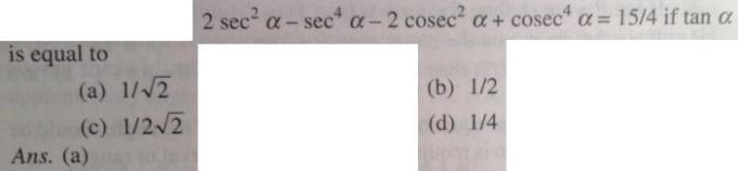 1 2 sec square alpha sec to the power 4 alpha