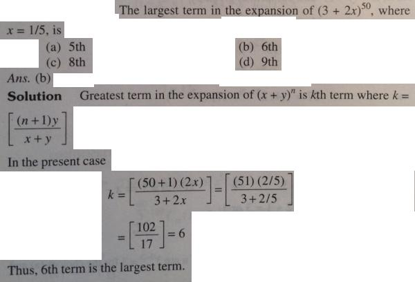 1 Binomial theorem largest term