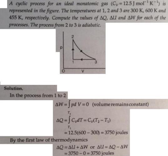 1 cyclic process ideal monoatomic gas Thermodynamics