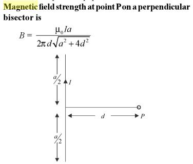 1 Magnetic field strength at point P on perpendicular bisector