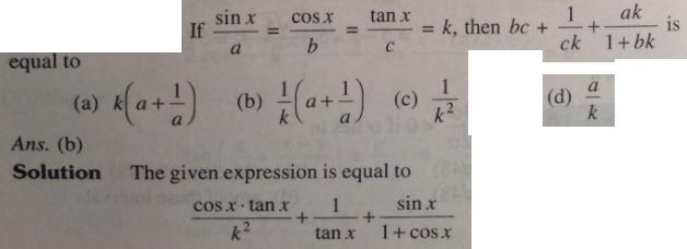 1 Sin x by a is Cos x by b is k