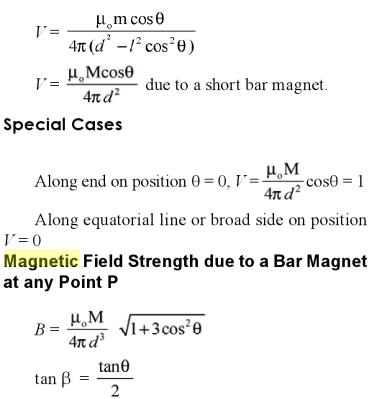 10 Magnetic potential at any point due to a bar magnet