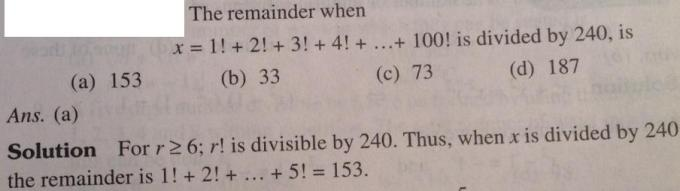 104 Remainder when sum of many factorials are divided by a number